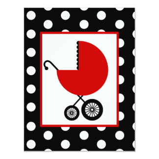 Neutral Baby Shower - Red Carriage & Polka Dots 4.25x5.5 Paper Invitation Card