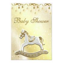 Neutral Baby Shower Rocking Horse Invitation