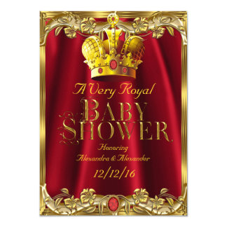 Neutral Baby Shower Royal Red Gem Gold Crown Card