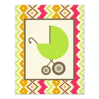 Neutral Baby Shower Tribal Inspired Green Carriage 4.25x5.5 Paper Invitation Card
