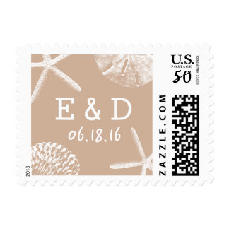 Neutral Beach Theme Seashells Wedding Stamps