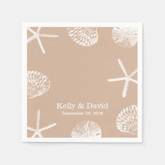 Neutral Beige Beach Theme Seashells Wedding Standard Cocktail Napkin