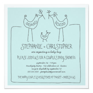 Neutral Birds Modern Family Couple Boy Baby Shower Card