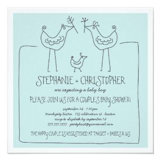 Neutral Birds Modern Family Couple Boy Baby Shower Card