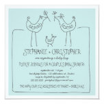 Neutral Birds Modern Family Couple Boy Baby Shower Invitation