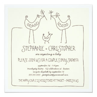 Neutral Birds Modern Family Couples Baby Shower Card