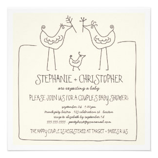 Neutral Birds Modern Family Couples Baby Shower Personalized Invitations