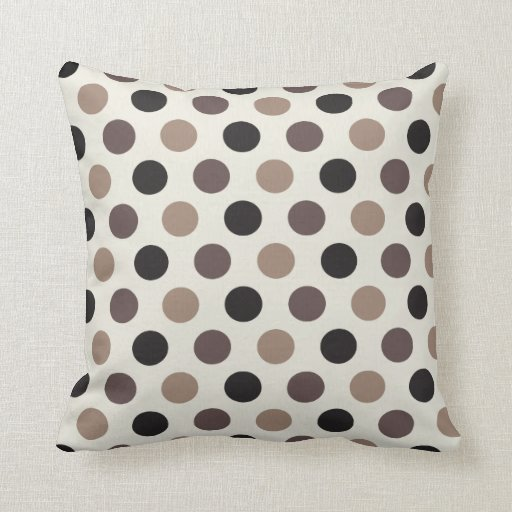 Black And Beige Throw Pillows : Neutral Black Beige Taupe Polka Dot Pattern Pillow