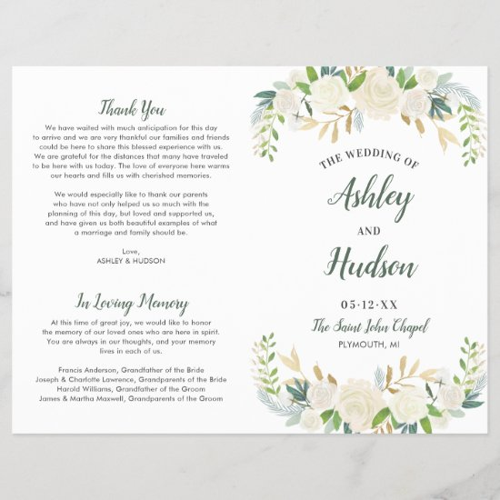 Neutral Blooms Green Floral Wedding Ceremony