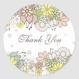 Neutral Blooms White Gift Thank You Label Sticker