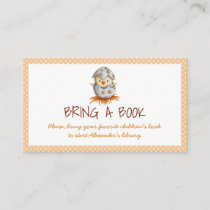 Neutral bring a book baby shower cards with chick