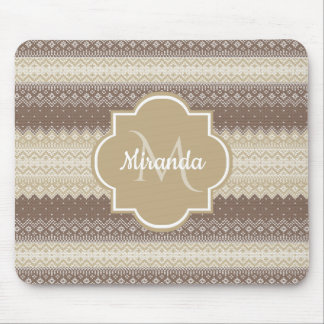 Neutral Brown and Tan Knit Pattern With Name Mouse Pad