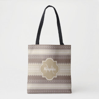Neutral Brown and Tan Knit Pattern With Name Tote Bag