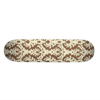 Neutral brown ornate skate board deck