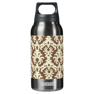 Neutral brown ornate thermos water bottle