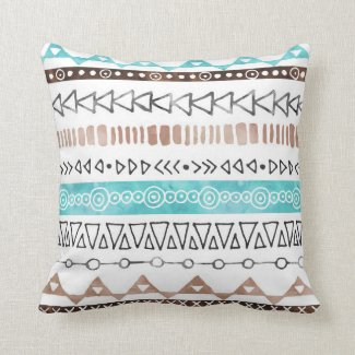 Feather Swirl Teal Throw Pillow 20x20