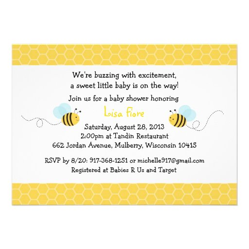 Neutral Bumble Bee Baby Shower Invitations
