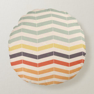 Neutral Chevron Zig Zag Stripes Round Pillow