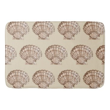 Beach Themed Neutral Color Seashell Bathroom Mat