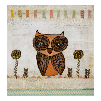 Neutral Colors Brown Owl Lace & Bunting Poster Art