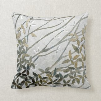 Neutral colors leaves and branches print pillow