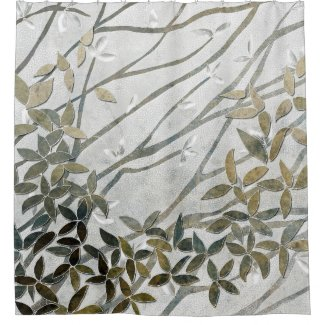 Neutral colors leaves and branches shower curtain