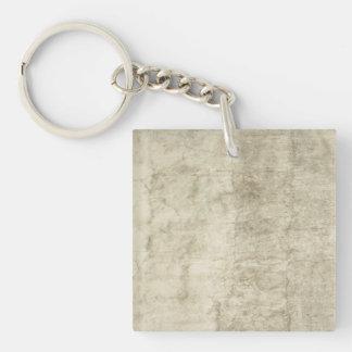 Neutral de papel antiguo del espacio en blanco de llavero cuadrado acrílico a una cara