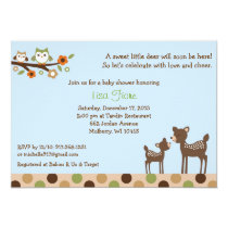 Neutral Deer Owl Forest Baby Shower Invitations