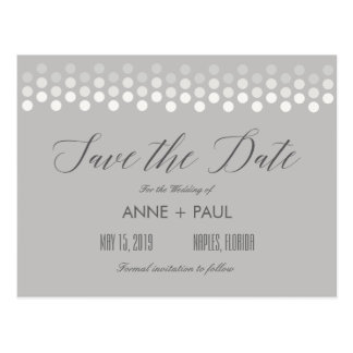 Neutral dots Save the Date Postcard