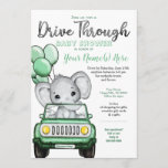 Neutral Elephant Baby Shower Drive by Mint Car Invitation