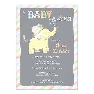 Neutral Elephant   Baby Shower Invitation