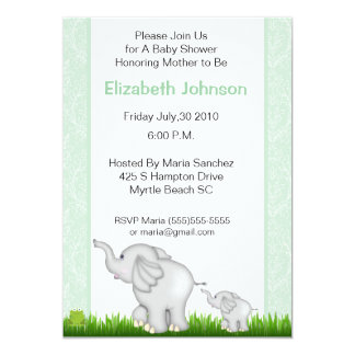 Neutral Elephant Baby Shower Invitations