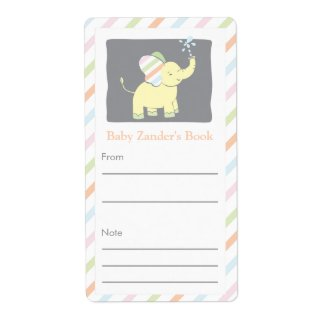 Neutral Elephant Bookplate Personalized Shipping Label