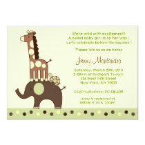 Neutral Elephant Giraffe Baby Shower Invitations