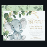 "Neutral Elephant Soft Greenery Gold Baby Shower Invitation<br><div class=""desc"">This simple yet elegant baby shower invitation features an adorable baby elephant and modern watercolor greenery in soft green & gold. It comes with a matching leaf pattern on the back. Use the template fields to add your details. If you want to change the font style, colour or text placement,...</div>"
