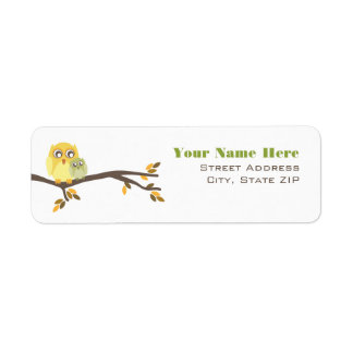 Neutral Fall Baby Shower Label Mom Baby Owl
