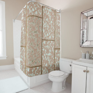 Neutral Faux Pompeii Rose and Green Marble Shower Curtain