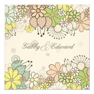 Neutral Flower Garden Square Wedding DIY Custom Card