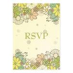 Neutral Flower Garden Wedding RSVP Cards Business Card Template