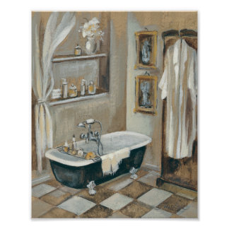 Neutral French Bathroom Poster