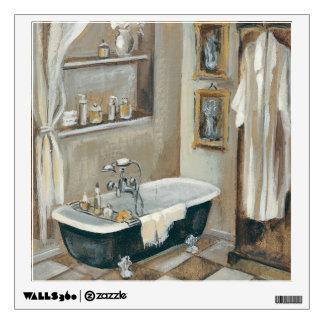 neutral french bathroom wall decal