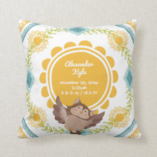 NEUTRAL Gender Birth Stats Baby woodland owl Throw Pillow