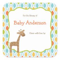 Neutral Gender Giraffe Baby Bookplates