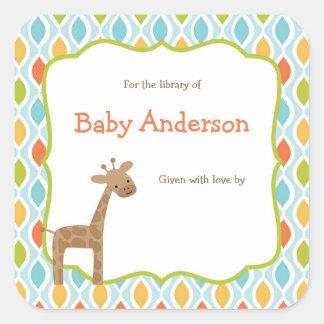 Neutral Gender Giraffe Baby Bookplates Square Sticker