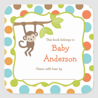 Neutral Gender Monkey Baby Bookplates
