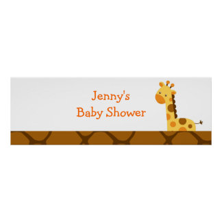 Neutral Giraffe Baby Shower Banner Sign Posters