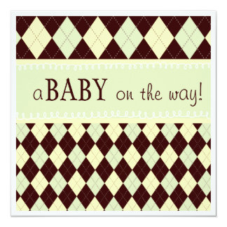 Neutral Green Argyle Baby on the Way Baby Shower Card