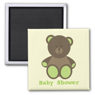 Neutral Green Baby Shower Favor Gingham Bear 2 Inch Square Magnet