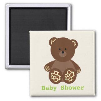 Neutral Green Baby Shower Favor Giraffe Print Bear 2 Inch Square Magnet