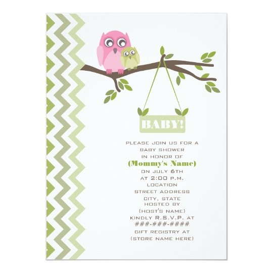 Neutral Green Baby Shower Mother and Baby Owls Card